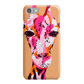 iphone phone case with colorful giraffe illustration