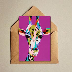 colorful giraffe illustration print