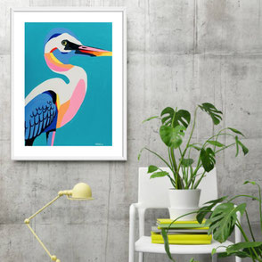 colorful bird illustration art print