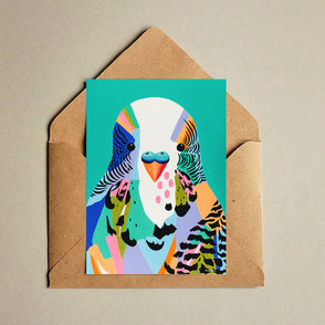 colorful budgie illustration print