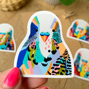 colorful budgie sticker