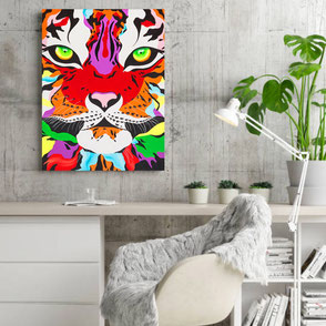 canvas print with colorful tiger illustration