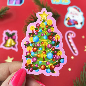 colorful christmas tree sticker