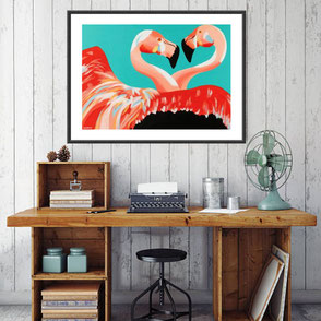 colorful flamingo illustration limited edition art print