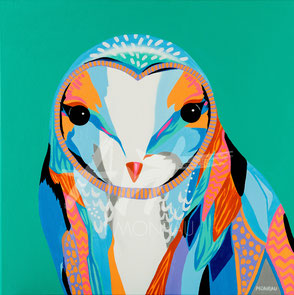 original painting colorful owl