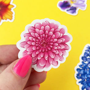 colorful pink flower vinyl sticker