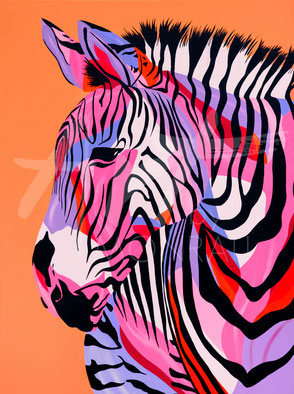 original painting colorful zebra