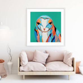 colorful owl illustration limited edition art print