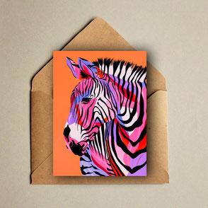 colorful zebra illustration print