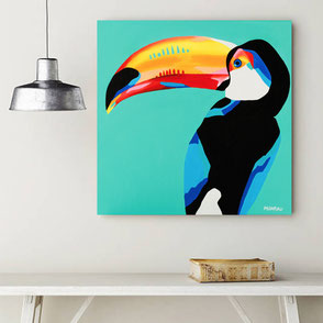 canvas print with colorful tucan illustration