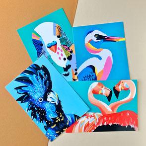 set of four bird illustrations print