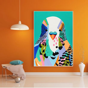 canvas print with colorful budgie illustration