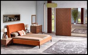 Schlafzimmer Barkley bestehend aus Kleiderschrank, Bettrahmen mit Matratze, Nacttischen und Anrichte