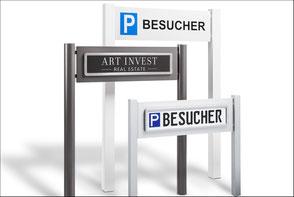 ParkSign construct Parkplatzschild, Parkplatz Schilder aus Edelstahl, Aluminium, Schilder gepraegt, Besucherschild, Kundenschild, Premium, Profile, Erdspiess, Halterung.