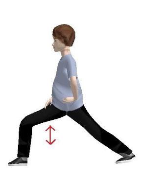 左手を腰に、上半身を右に回し横向きになり  上下にゆすります