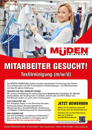 mueden.de, Startseite, Bild Mitarbeiter gesucht, eine Büglerin bügelt Hemd