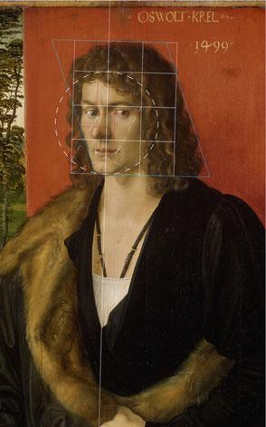 (23) Albrecht Dürer, Ritratto di Oswolt Krel (parte di un trittico), 1499, olio su legno di tiglio, 49,7 x 38,9 cm, n. invent. WAF 230, Alte Pinakothek Monaco di Baviera / Bayerische Staatsgemäldesammlungen