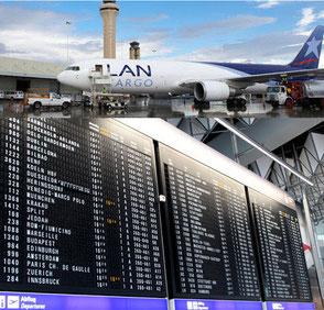 Bild Anzeigetafel Flughafen und Flugzeug bei der Beladung