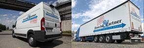 Zusammengesetztes Bild: Van und Sattelzug der Bouché & Partner GmbH
