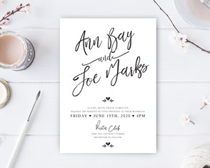 Traditional wedding invitations with calligraphy text