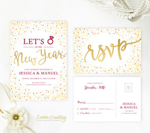 Burgundy and gold wedding invitations