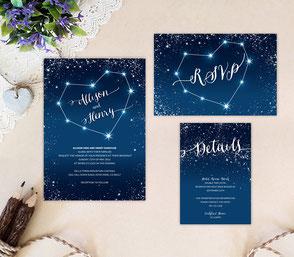 Starry night wedding invitation kits