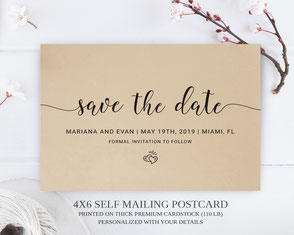 Simple save the date postcards