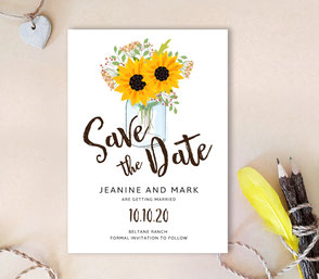 Mason jar save the date invitation cards