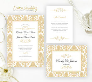 Gold wedding invitation packages