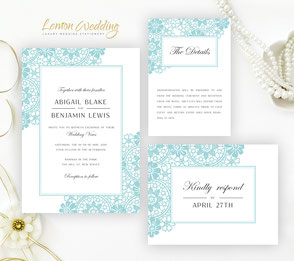 green lace wedding invitations