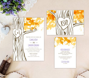 RTree themed wedding invitations