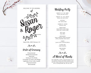 Elegant Wedding Ceremony Programs