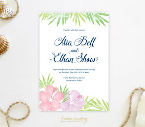 Hawaiian beach wedding invitations