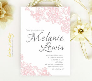 Elegant Bridal Shower Invitations pink