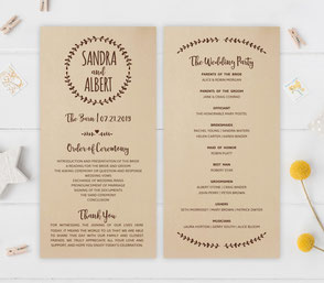 Rustic Country Wedding Ceremony Programs