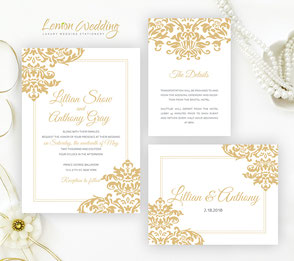 Gold wedding invitations packages