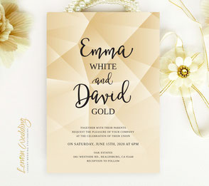 gold themed wedding invitations