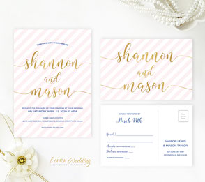 Blush pink and cold wedding invitations