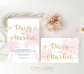 Nautical wedding invitations with palm tree