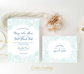 Nautical wedding invitations and RSVP cards