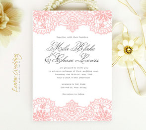 Inexpensive lace wedding invitations