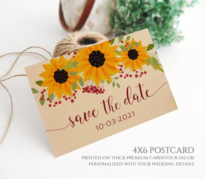Sunflower Save the Date Postcards