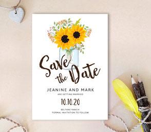 Mason jar save the date invitations