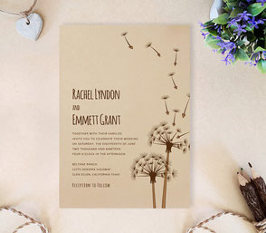 Dandelion rustic wedding invitations