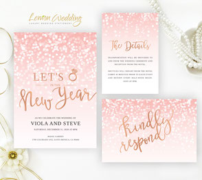 Pink New Year's Eve wedding invite