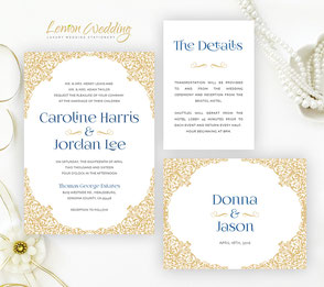 Gold and navy blue wedding invitation packages