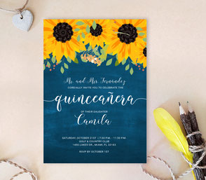 Sunflower Quinceanera Invitations