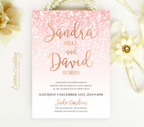 Rose gold and pink wedding invitations