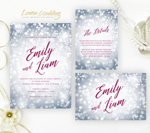 burgundy and silver wedding invitations