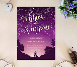 Starry night wedding invitations